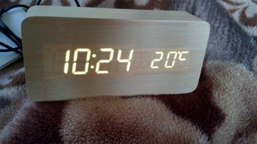 Novelty Rechargeable White Light LED Rectangle Bamboo Wooden Electronic Clock Alarm with Sound Control