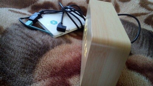 Novelty Rechargeable White Light LED Rectangle Bamboo Wooden Electronic Clock Alarm with Sound Control (2)